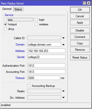 Impelementasi dan Konfigurasi Mikrotik Hotspot, Freeradius